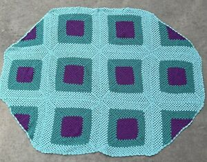 Handmade Crochet Throw Blanket Purple Teal Mint Green Lap Couch ODD SHAPE **READ