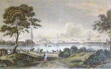 HAMBURG - GESAMTANSICHT um 1840, kolorierter Stahlstich von F.Hirchenhein SELTEN