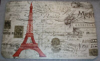 SET OF 4 Placemats PARIS EIFFEL TOWER THEME Counter Art Reversible Vinyl