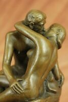 "Auguste Rodin ""The Kiss"" Nude Lovers Bronze Metal 6"" Sculpture Statue Marble Art"