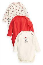 ВNWT NEXT Babygrows Playsuits • Red Bunny Bodysuits 3pk •100% Cotton • 1 Month