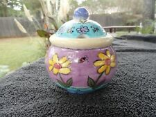 Sango Birds and Bees Yellow Flowers Purple Blue Embossed Covered Sugar Bowl
