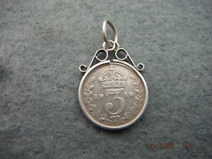 1919 KGV THREEPENCE 925 SILVER COIN LOOSE MOUNTED NECKLACE PENDANT