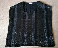 Selected / Femme Black Beaded Bot Top Short Sleeved UK Size 10 VGC!