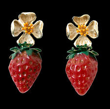 Handmade Earrings with Large Strawberries and Flowers, Gold Coloured