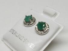 EMERALD Pretty Genuine Gemstone 925 STERLING SILVER  Women's Stud Earrings >NEW<