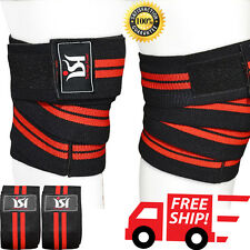 Gym Powerlifting Knee Wraps weight Lifting Training Workout Straps Guard pads