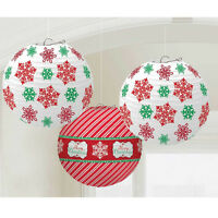 3 Snowflake Paper Lanterns Red & White Christmas Party Hanging Decorations