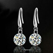 925 Sterling Silver Round Drop Bridal Earring  Made with Swarovski Crystal IE38