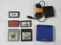 L529 Nintendo Gameboy Advance SP console Azurite Blue &  game Adapter Japan GBA