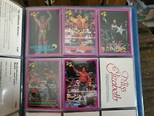 1990 Complete Set of 5 WWF Wrestling Promo Cards Mint Purple Border