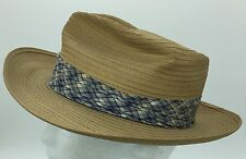 Vintage Palmcool Plaid Band Straw Hat Fedora Summer Panama 6 7/8 Made in US