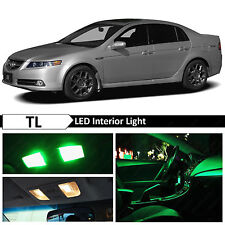 2004-2008 Acura TL Green Interior + License Plate LED Lights Package Kit