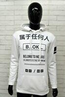 Felpa Bianca Uomo BERSHKA Taglia Size L Maglione Sweater Man White Cappuccio