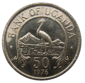 UGANDA 50 CENTS 1976 - BIRD EAST AFRICAN CROWNED CRANE MAGNETIC KM4a AU-UNC COIN