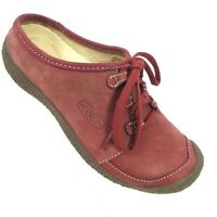 KEEN Women's Shoes US 6 Chyenne Brick Red Nubuck Floral Print Lace Up Mules