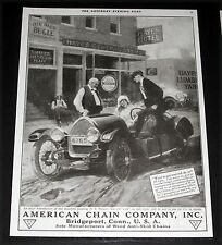 1920 OLD MAGAZINE PRINT AD, AMERICAN CHAIN CO, WEED TIRE CHAINS, S. WERNER ART!
