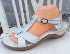 LOTUS Comfort Womens Genuine Leather White Mid Wedge T Strap Sandals UK7 EU40