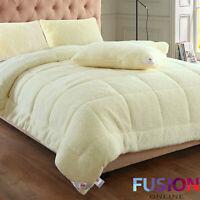 Teddy Bear Sherpa Duvet Fleece 13.5 Tog Quilt Thermal Warm Soft Bedding & Pillow