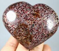 349g Natural Beauty Rare Red Garnet Crystal Heart Mineral Specimens