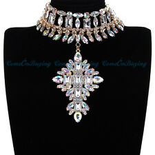 Fashion Jewelry Gold Vintage Choker Statement Shiny Glass Pendant Necklace Hot