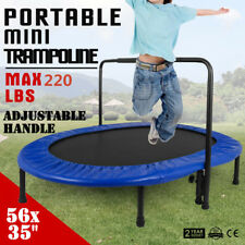 "Mini 2Kids Trampoline Jump 56"" w/Adjustable Handle Balancing Portable Foldable"