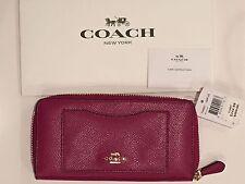 Coach Crossgrain Accordion Zip Leather Wallet Fuchsia Pink F54007 + COACH BOX