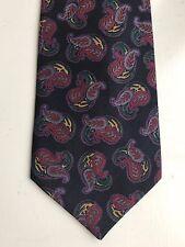 Mens Neck Tie 100% Silk Black Red Gold Green Paisley Design Necktie Classic