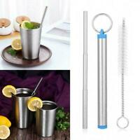 Portable Telescopic Drinking Straw Stainless Steel Travel Straw Metal Reusa H7N0