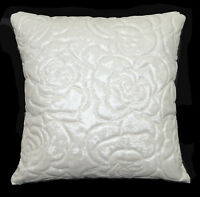 pe229t Cream White Faux Leather Classic Pattern 3D Box Cushion Cover Custom Size