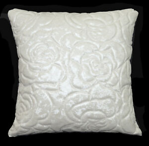 pj01a Cream White Rose Faux Leather Skin Emboridered Foam Backing Cushion Cover