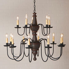 Country new rustic 2 tier 15 arm ESPRESSO FINISH wood chandelier / nice