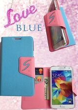 Blue Samsung galaxy S5 Flip Leather case Cover Black With 2 Screen Protector