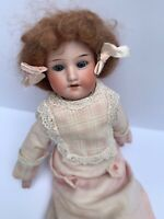 """ANTIQUE GERMAN DOLL ARMAND MARSEILLE 15"""" BISQUE HEAD SHOULDERS LEATHER BODY"""