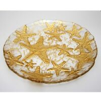 "SEA STAR Set/4 Glass 8"" Salad Plates Gold"