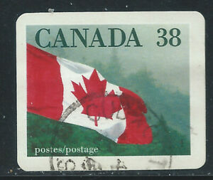 """Canada #1191(2) 1989 38 cent CANADIAN FLAG OVER FOREST - """"QUICK STICK"""" Used"""