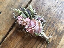 ROSE BUTTONHOLES. Natural Dried Flowers by Florence & Flowers wedding Gyp Twine