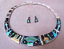 Navajo Micro Inlay Multi-Stone & Sterling Kachina Necklace & Earring by IJ JP251