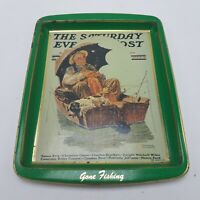 "Saturday Evening Post ""Gone Fishing"" by Norman Rockwell Tin Plate Tray Daher"