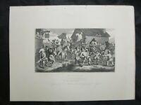 1800s Engraving Etching - Hudibras Encounters the Skimmington by William Hogarth