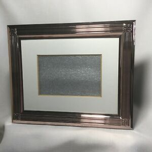 """Pottery Barn Pink Champagne Metal Picture Frame 9 x 11"""" fits 4 x 6"""" Photo"""