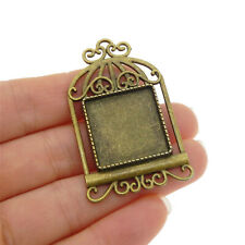 38773 Antiqued Bronze Alloy Bird Cage Brooch Cameo Setting Charms Inner 20*20mm
