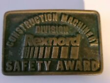 1980 Brass Rexnord Construction Machinery Division Safety Award Belt Buckle
