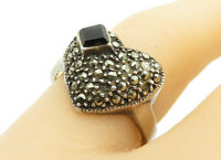 925 Silver - Vintage Black Onyx & Marcasite Heart Cocktail Ring Sz 8 - R13109