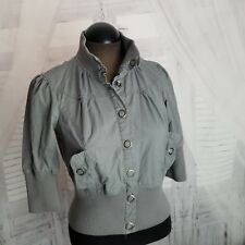 Max Arzia Miley Cyrus bomber fashion coat jacket top shirt women L large button