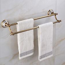 Antique Brass Bathroom Towel Rack Rails Wall Mount Dual Bar Porcelain Holder
