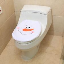 Christmas Home Decoration Bathroom Toilet Seat Cover Set Santa Elf Snowman WL
