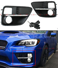 FOR 2015-17 SUBARU WRX STi VA FOG LIGHT BEZEL COVER + CLEAR WHITE LED DRL STRIP