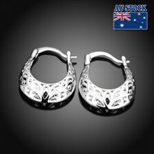 New 925 Sterling Silver Filled Women 26mm Filigree Flower Hoop Earrings Vintage