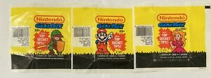 Nintendo Game Pack Set of 3 Empty Trading Card Wax Wrappers Topps 1989